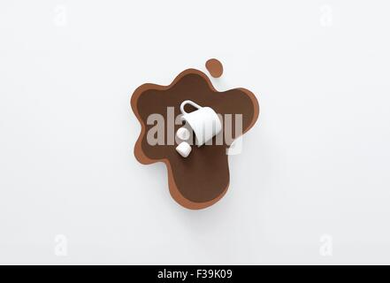 Tazza concettuale rovesciati, giacente in un pool di carta fatta di cioccolata calda con marshmallows Foto Stock