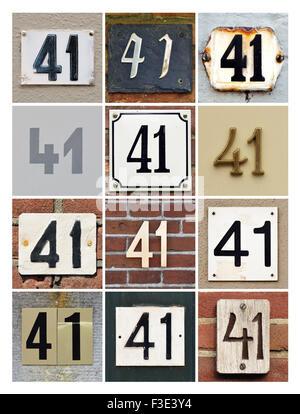 Numero 41 - Collage di Numeri Civici quarantuno Foto Stock