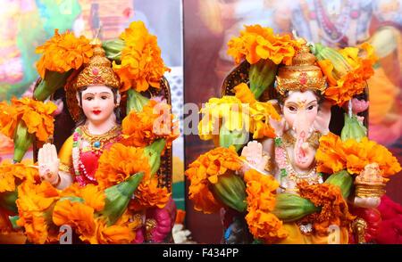 Dea Lakshmi e signore Ganesha Foto Stock