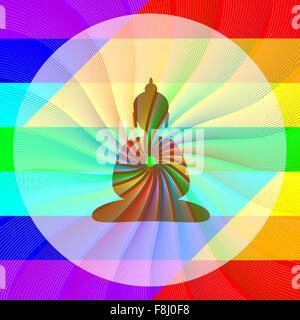 Il Buddha in meditazione con rainbow onde dal suo cuore Foto Stock