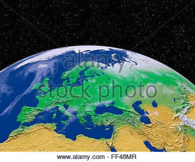 Simulazione di vista satellitare di parte della terra dallo spazio Europa mondo spazio mappa pianeta mondo terreno Foto Stock