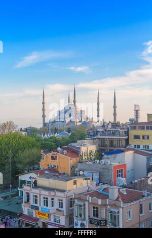 La Moschea Blu (Sultan Ahmet Camii), Sultanahmet, cityscape di Istanbul, Turchia Foto Stock