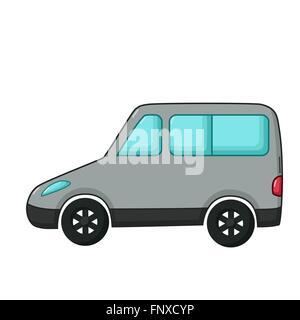 Il trasporto urbano icona in stile cartoon isolati su sfondo bianco. Grigio auto monovolume Foto Stock
