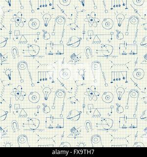 Fisica scarabocchi pattern senza giunture Foto Stock