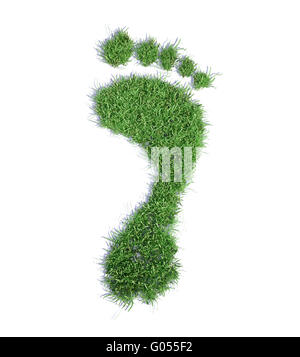 Impronta ecologica concetto illustrazione - erba footprint di patch Foto Stock