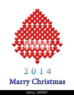 Nuovo Anno di pelliccia-tree realizzato da molti cuori rossi Foto Stock