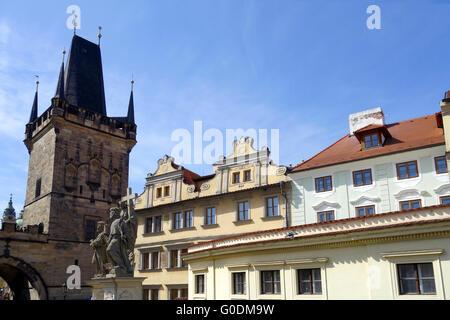 Lesser Town Torre del Ponte Carlo a Praga Foto Stock
