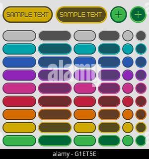 Set di vuoto circolare lucido pulsanti web in 9 colori. Foto Stock