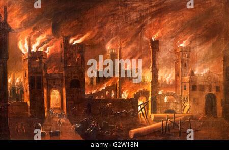 Il Grande Incendio di Londra nel 1666, visto da Ludgate, olio su tela, da un originale di Jan Griffier the Elder, Foto Stock