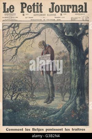 """""""Come i belgi punire traditori' un collaboratore è appeso a un albero. Data: 1916 Foto Stock"""