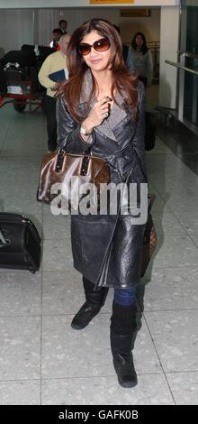 Shilpa Shetty arriva a Heathrow Airport - Londra Foto Stock