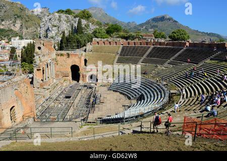 Teatro Greco - Taormina, Sicilia, Italia Foto Stock