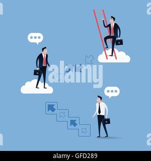 Imprenditore salendo le scale oltre il cielo blu con nuvole bianche. Il concetto di Business illustrazione vettore. Foto Stock