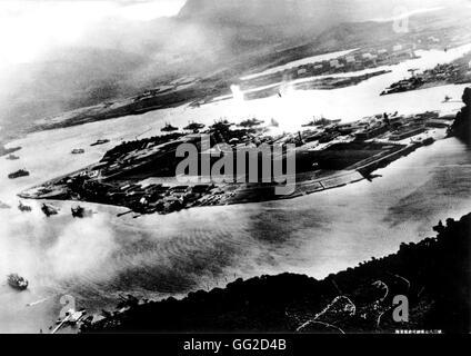 Attacco giapponese a Pearl Harbor 7 dicembre 1941 Stati Uniti Giappone - II Guerra Mondiale Narional archivi. Washington Foto Stock