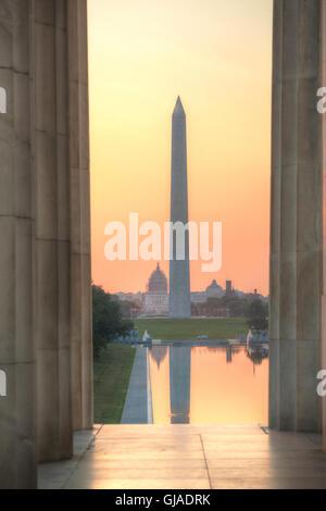 Washington monumento in memoria di Washington DC al mattino Foto Stock