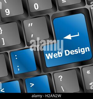 Web design concept: tastiera di computer con word sito sul pulsante INVIO, 3D render Foto Stock
