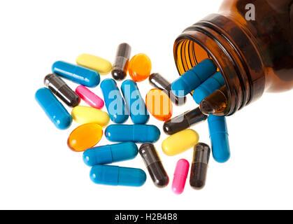 Pillole gruppo isolato su bianco Foto Stock