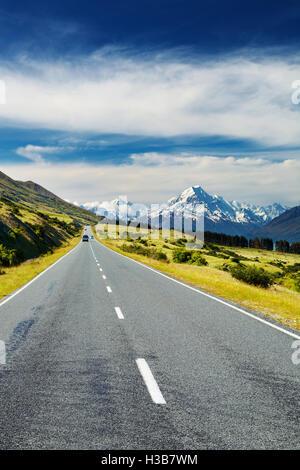 Strada per Monte Cook, Nuova Zelanda Foto Stock