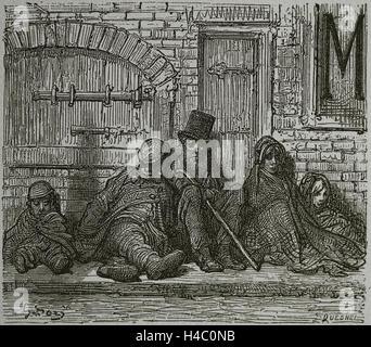 Regno Unito. Londra. Età vittoriana. Industrie di umile. Scoperchiata. Incisione di Gustave Dore, xix secolo. Foto Stock