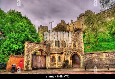Porta del Castello di Windsor - Inghilterra, Gran Bretagna Foto Stock