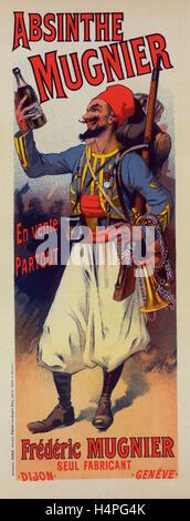 Poster per l' Assenzio Mugnier. Lucien Lefevre 1850 Francia, espone al Salon des indipendenti a Parigi nel 1872 Foto Stock