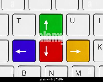 Pulsanti freccia sulla tastiera del computer Foto Stock