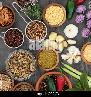 Erbe e spezie selezione per la cottura in ciotole di legno, scoop e allentato, alta in sfondi astratti. Foto Stock