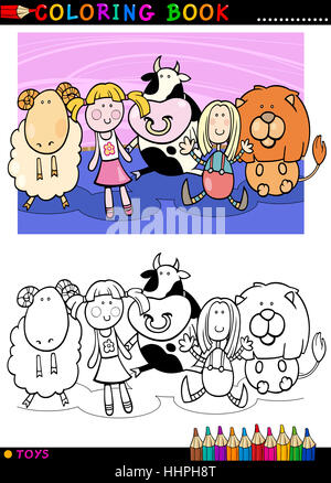 Illustrazione, Teddy, giocattoli, pagina, bookpage, cartoon, mascotte, prenota, ridere, Foto Stock
