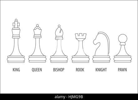 Set di sei pezzi di scacchi, illustrazione vettoriale. Foto Stock