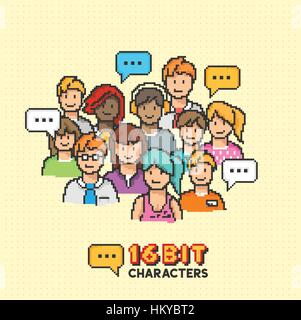 Un gruppo di giovani adulti in caratteri grafica a 16 bit. Illustrazione Vettoriale Foto Stock