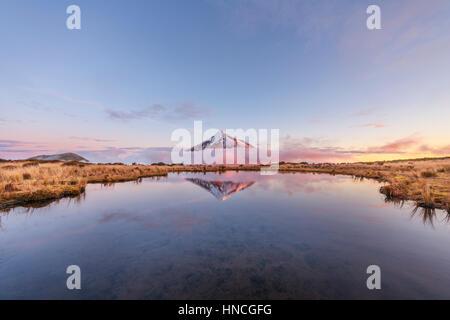 La riflessione in Pouakai Tarn lago, Nuvole rosa intorno uno stratovulcano Mount Taranaki o Mount Egmont al tramonto, Foto Stock