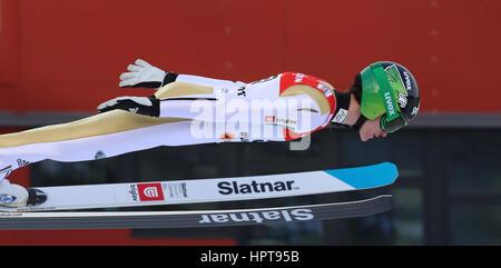 Lahti, Finlandia. 24 Febbraio, 2017. Atleta sloveno Peter Prevc in azione al FIS Nordic Ski World Championships Foto Stock