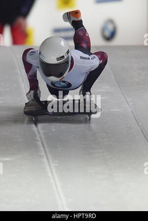 Koenigssee, Germania. 24 Febbraio, 2017. Atleta canadese Mirela Rahneva in azione al IBSF di Bob e Skeleton Campionati Foto Stock