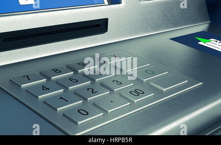 Vista ingrandita di un atm tastiera (3d rendering) Foto Stock