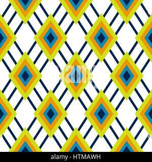 Geometrica a rombo verde e blu modello senza giunture. Foto Stock