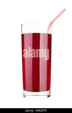 Bicchiere di ciliegio dolce succo di frutta isolato su bianco Foto Stock