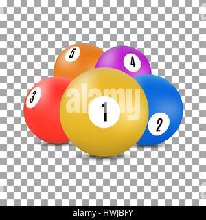 Sfere multicolore con i numeri per un gioco di biliardo e biliardo in 3D stile, illustrazione vettoriale. Foto Stock