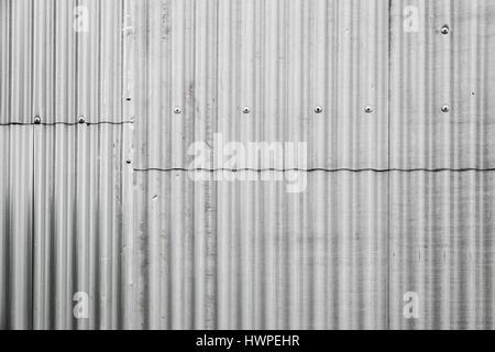 Grigio metallo ondulato recinzione fatta di fogli con bulloni, parete industriale foto di sfondo texture Foto Stock