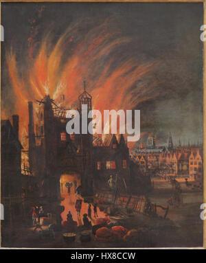 Il Grande Incendio di Londra, con Ludgate e Old San Paolo Foto Stock