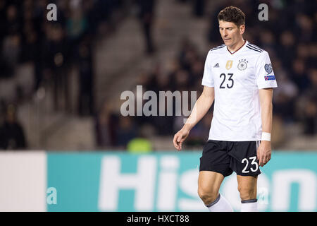 Baku in Azerbaijan. 26 Mar, 2017. La Germania Mario Gomez durante la Coppa del Mondo FIFA Gruppo qualificatore fase Foto Stock