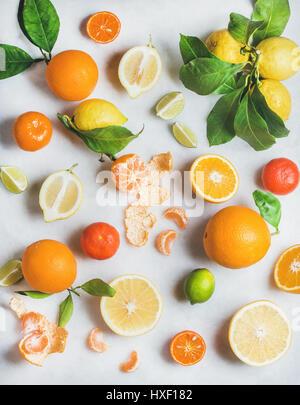 Varietà di agrumi freschi per rendere frullato sano Foto Stock