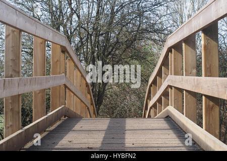 Robusta passerella in legno e ringhiere in un paese park Foto Stock