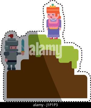 Pixel scenario videogioco Foto Stock