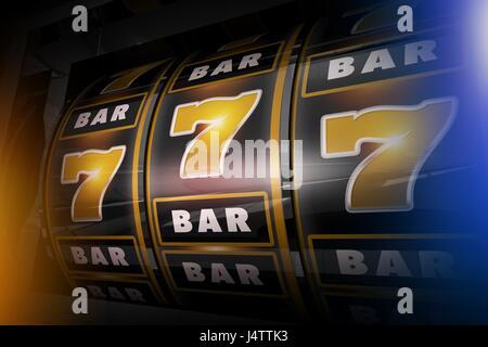 Slot Machine Concept 3D'illustrazione. Golden Sevens e barre di colore nero in stile Las Vegas Slot. Foto Stock