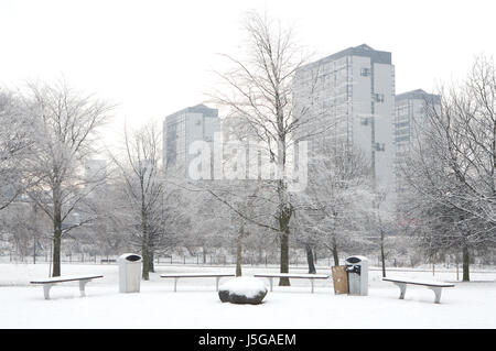Vista di alto appartamenti in Gorbals da Glasgow Green, a Glasgow in Scozia Foto Stock