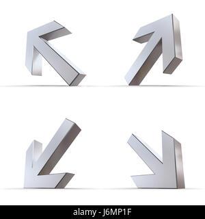 Puntatore di argento brillante lucido freccette frecce segno metallico pittogramma Foto Stock