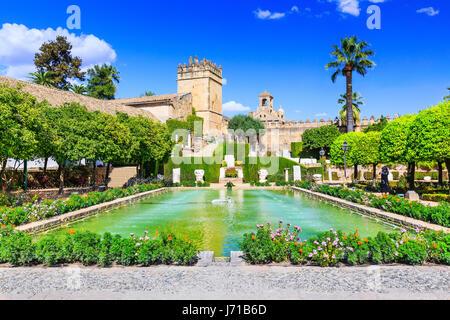 Cordoba, Spagna. I giardini di Alcazar de los Reyes Cristianos Foto Stock