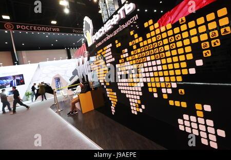 San Pietroburgo, Russia. Il 1 giugno, 2017. Rosneft stand al 2017 San Pietroburgo International Economic Forum SPIEF Foto Stock