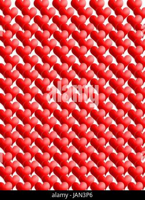 Texture insolite da molti cuori rossi su sfondo bianco Foto Stock