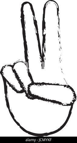 La mano di un essere umano con la pace e il gesto di amore Foto Stock